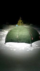 Telt i snøen